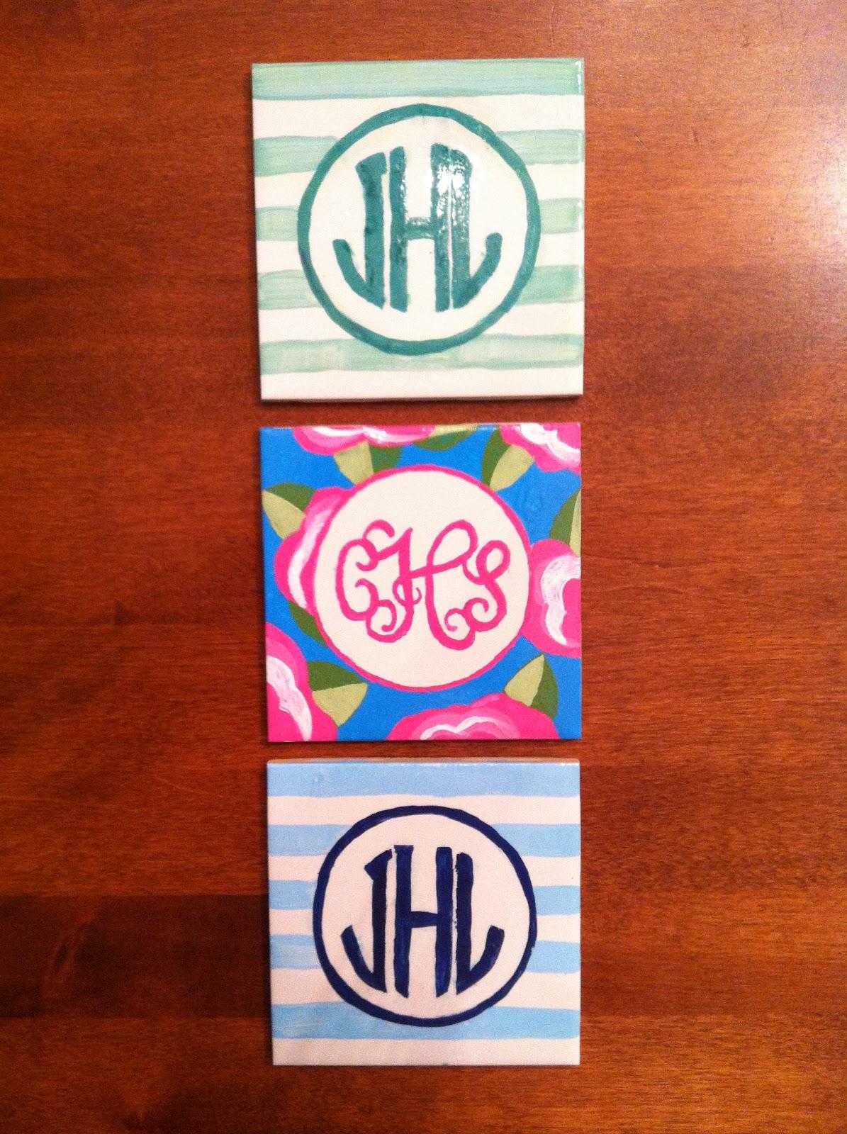 lewisville livin monogram coasters